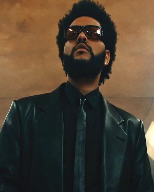 The Weeknd 2021 Song Take My Breath Black Leather Trench Coat